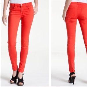 J Brand Lipstick Red Mid Rise Super Skinny Jeans